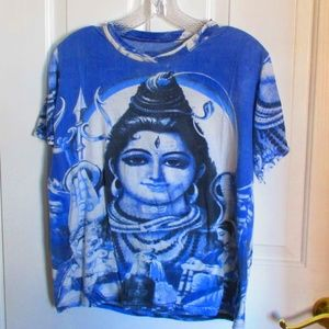 Indian Goddess T-Shirt Blue Short Sleeves MED/LG